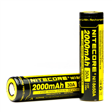 Nitecore IMR 18650 2000mAh 30A High Drain Battery (Flat Top)
