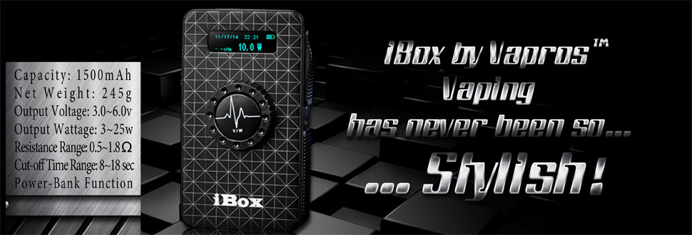 vision, vapros, ibox, mvp, apv, box mod, 1500mah, electronic cigarette, ecig, vv, vw, variable voltage, variable wattage