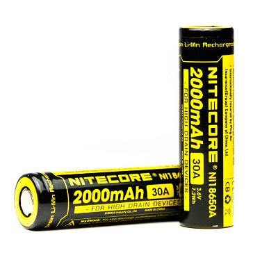 Nitecore IMR 18650 2000mAh 30A High Drain Battery (Flat Top)